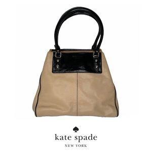 Kate Spade Tan & Black Leather Handbag Polka Dot